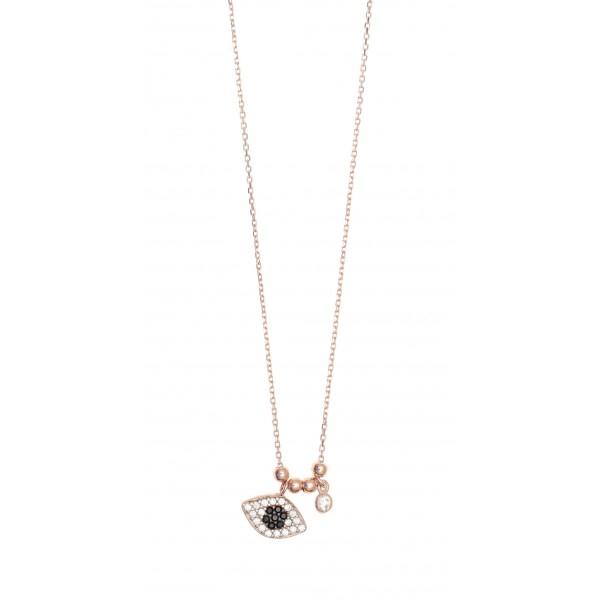 Κολιέ ασήμι 925 με ροζ επιχρύσωση & με zirconia GRE-46611