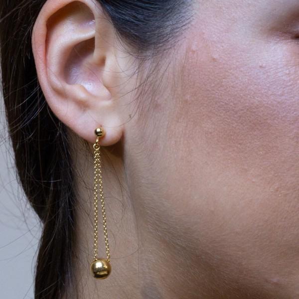 Σκουλαρίκια ασήμι 925, επιχρυσωμένα GRE-58286