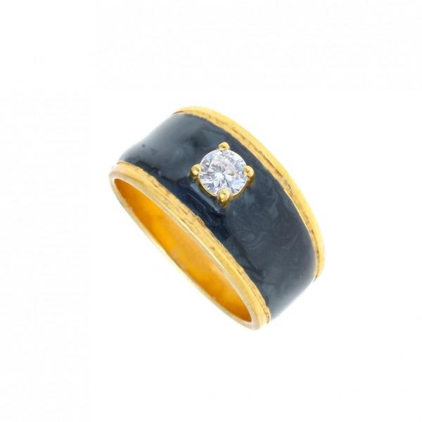 Δαχτυλίδι ασήμι 925 επιχρυσωμένο με σμάλτο GRE-58282
