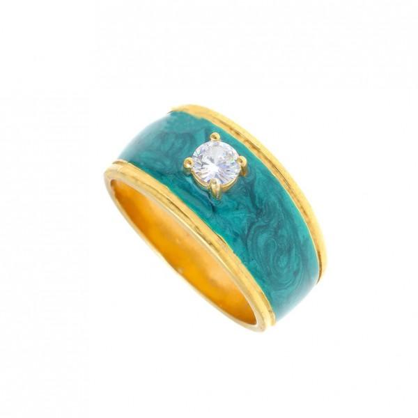 Δαχτυλίδι ασήμι 925 επιχρυσωμένο με σμάλτο GRE-58279