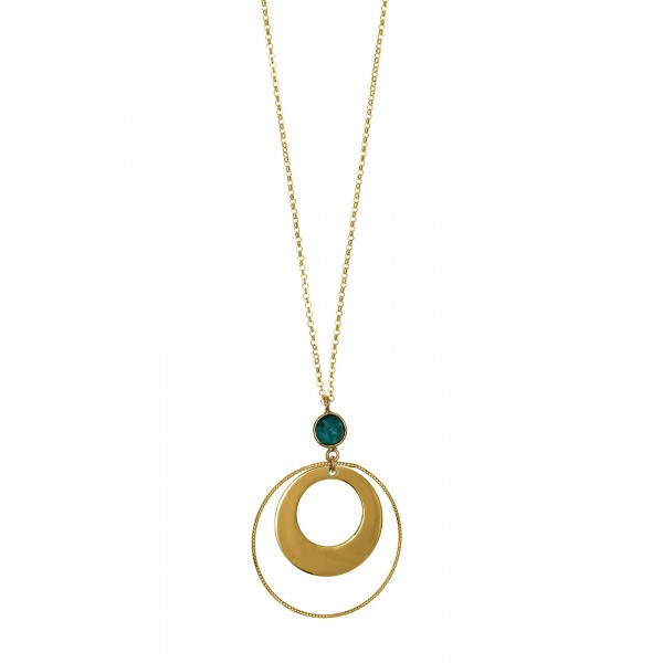 Necklace in silver 925 gold plated with emerald GRE-55569
