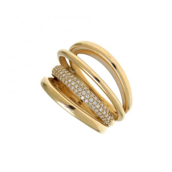 Δαχτυλίδι ασήμι 925, επιχρυσωμένο με λευκά zirconia GRE-55780
