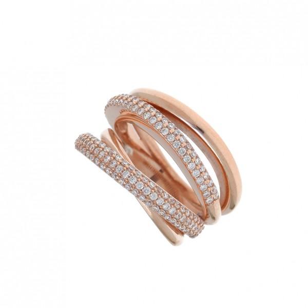 Δαχτυλίδι ασήμι 925 με ροζ επιχρύσωση και zirconia GRE-54442