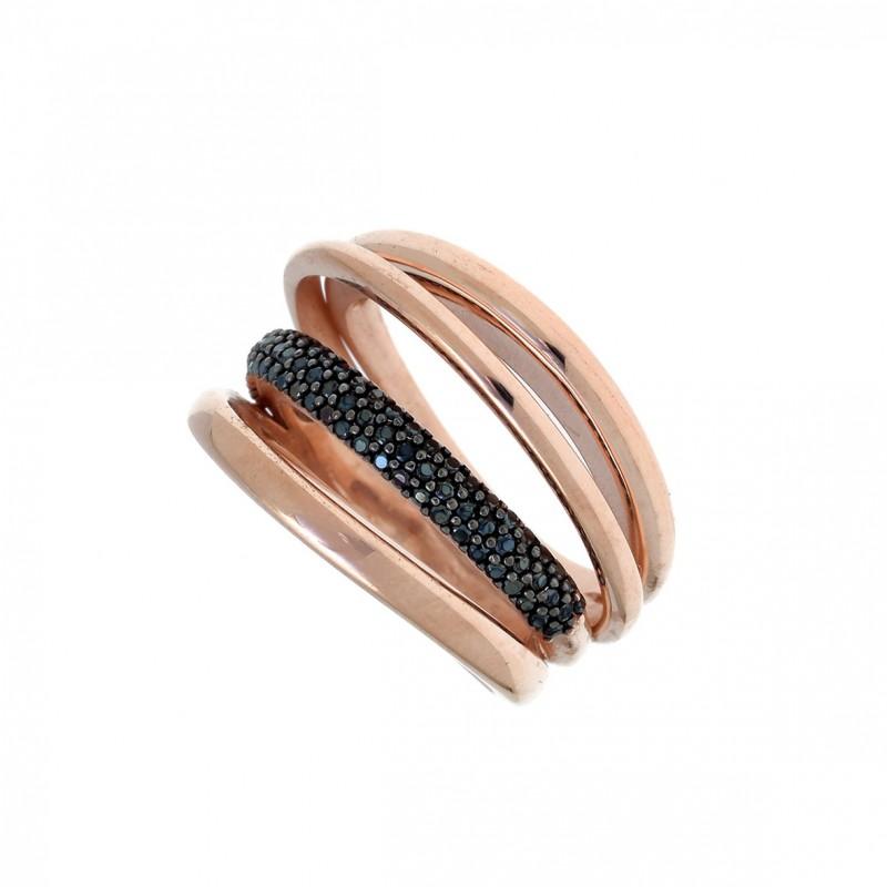 Δαχτυλίδι ασήμι 925, με ροζ επιχρύσωση και zirconia GRE-54448