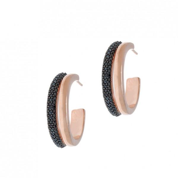 Σκουλαρίκια ασήμι 925, με ροζ επιχρύσωση και zirconia GRE-54713