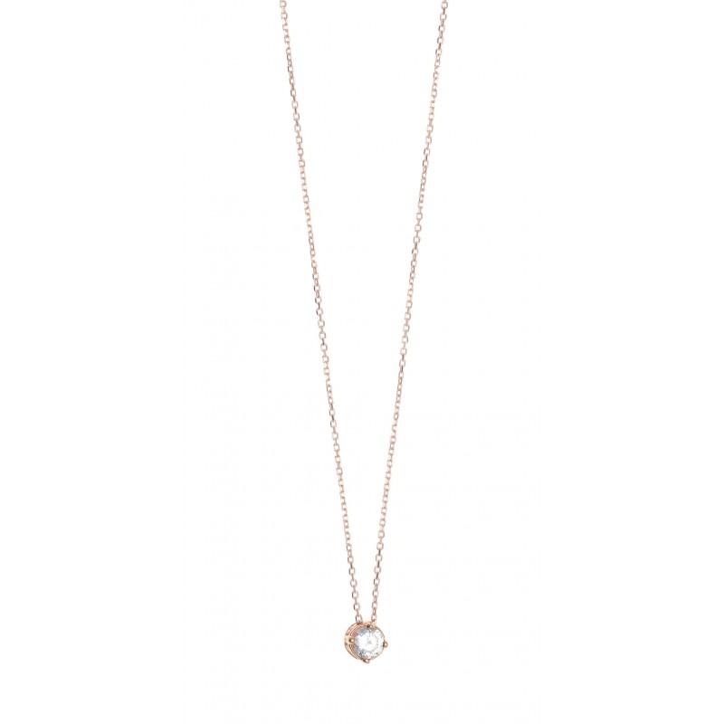 Κολιέ ασήμι 925 με ροζ επιχρύσωση και λευκό zircon GRE-39476