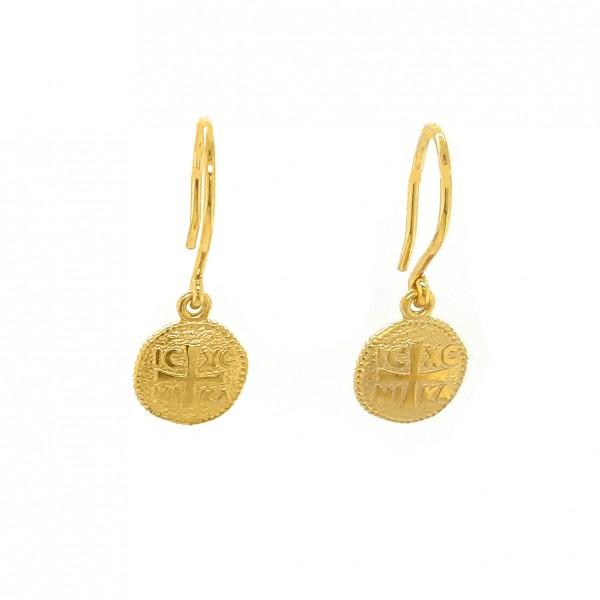 Σκουλαρίκια Κωνσταντινάτα ασήμι 925 επιχρυσωμένα GRE-52164