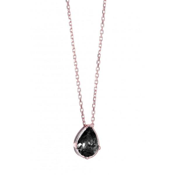 Κολιέ ασήμι 925 με ροζ επιχρύσωση και μαύρο zircon GRE-43765