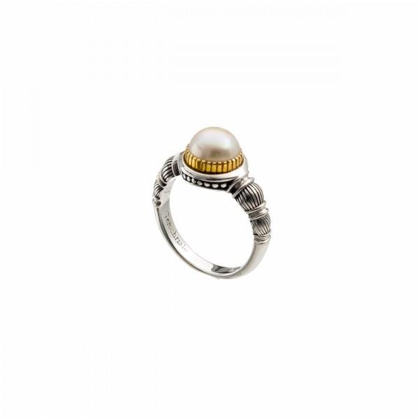 Δαχτυλίδι ασήμι 925 με επιχρυσωμένες λεπτομέρειες GER-P20081