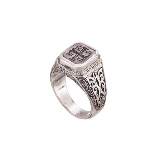 Δαχτυλίδι ανδρικό ασήμι 925 με σφραγίδα GER-2553
