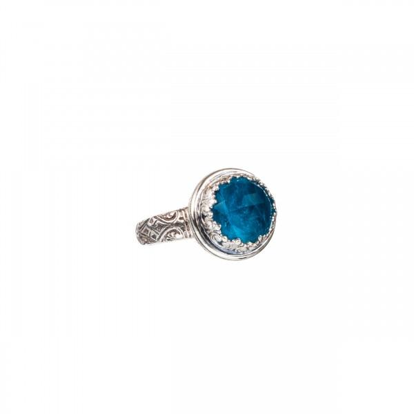 Χειροποίητο δαχτυλίδι ασήμι 925 με ορυκτή πέτρα GER-20041