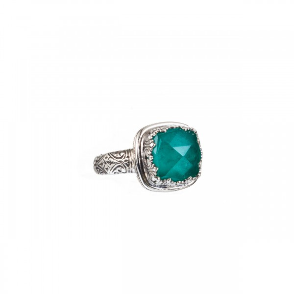 Χειροποίητο δαχτυλίδι ασήμι 925 με ορυκτή πέτρα GER-20036