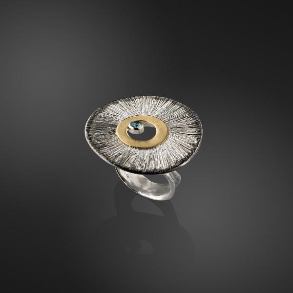 Χειροποίητο δαχτυλίδι 18Κ χρυσό με ασήμι 925° DEL-30SG221