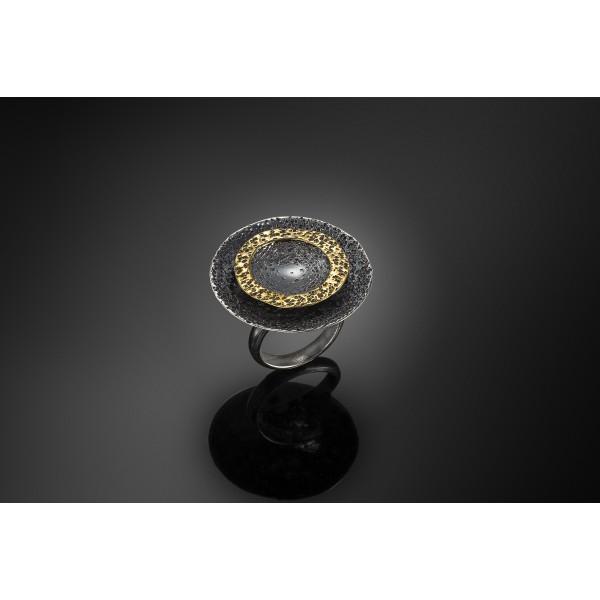 Χειροποίητο δαχτυλίδι 18Κ χρυσό με ασήμι 925° DEL-30SG217