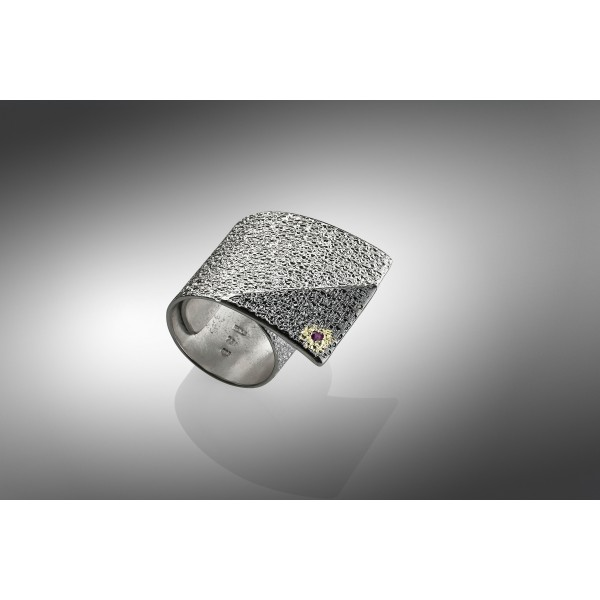 Χειροποίητο δαχτυλίδι 18Κ χρυσό με ασήμι 925° DEL-30SG208