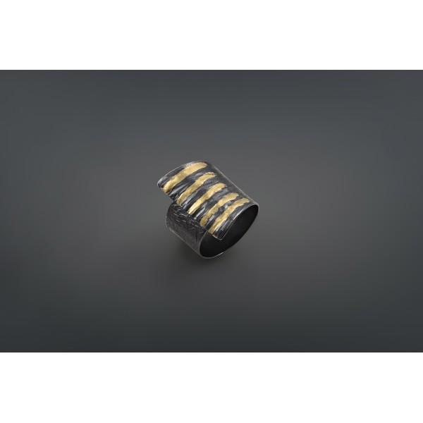 Χειροποίητο δαχτυλίδι 18Κ χρυσό με ασήμι 925° DEL-30SG075