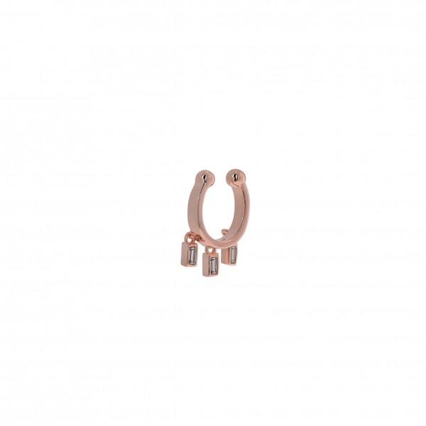 Ear Cuff μονό από ασήμι 925° με ροζ επιχρύσωση και λευκά ζιργκόν PS/8O-SC007-2