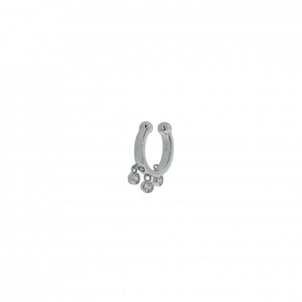 Ear Cuff μονό από ασήμι 925° επιπλατινωμένο με ζιργκόν PS/8O-SC009-1