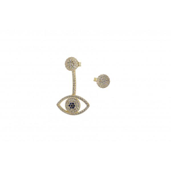 Σκουλαρίκια ασήμι 925 επιχρυσωμένα με ζιργκόν PS/8A-SC168-3