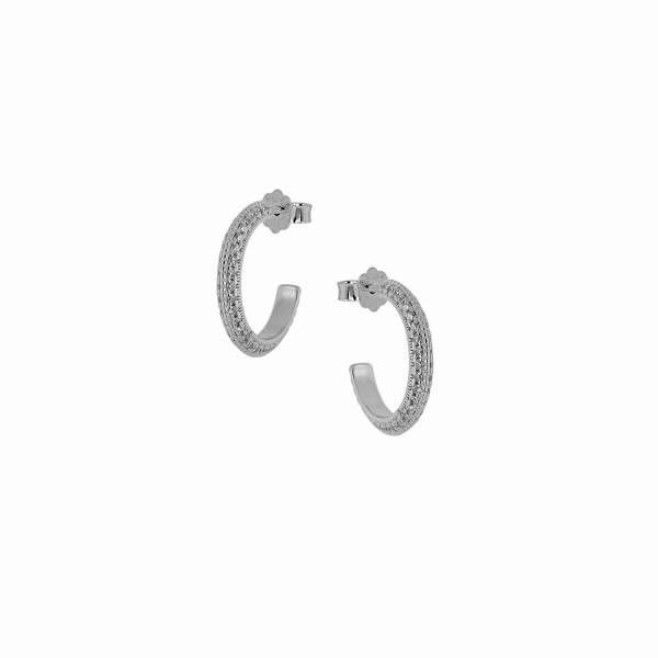 Κρικάκια καρφωτά από ασήμι 925° με λευκά ζιργκόν PS/8A-SC181