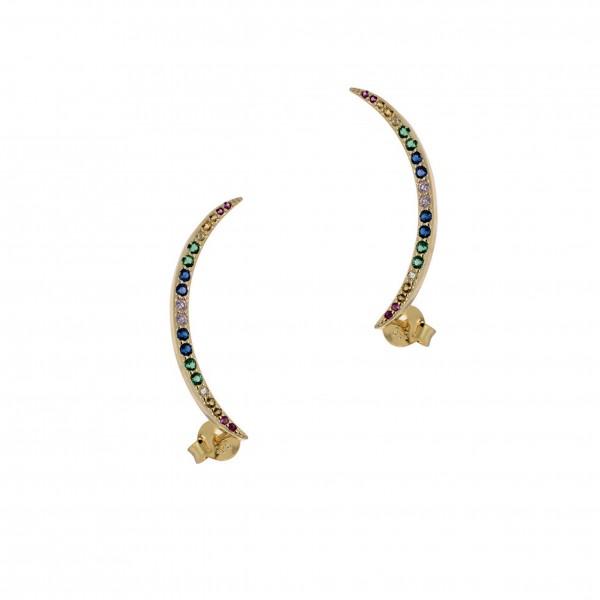 Σκουλαρίκια καρφωτά ασήμι 925 επιχρυσωμένα με ζιργκόν PS/9B-SC090-5