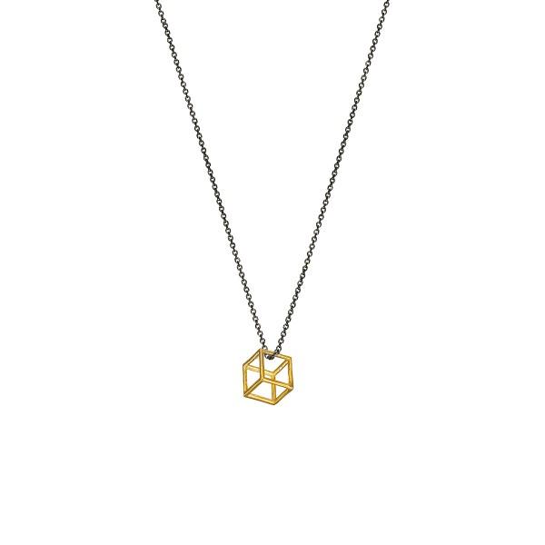 Χειροποίητο Μενταγιόν Χρυσό Κ14 Κύβος KRI-E22