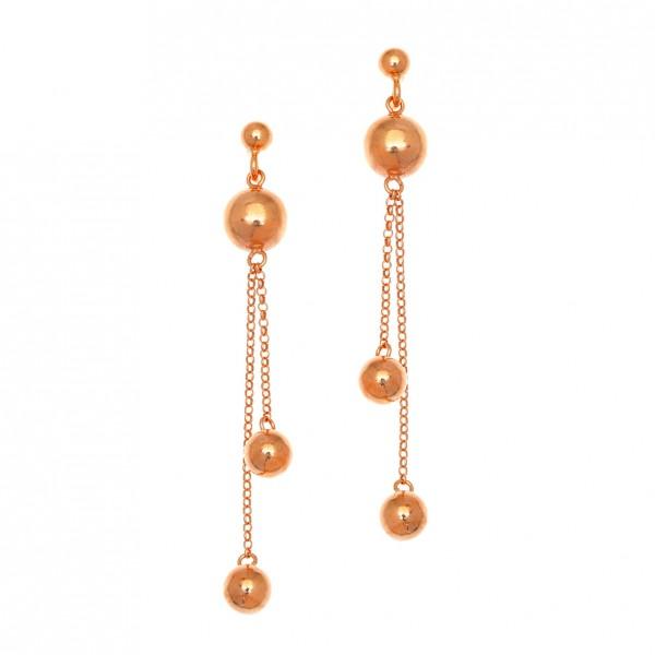 Σκουλαρίκια ασήμι 925 με ροζ επιχρύσωση GRE-58454
