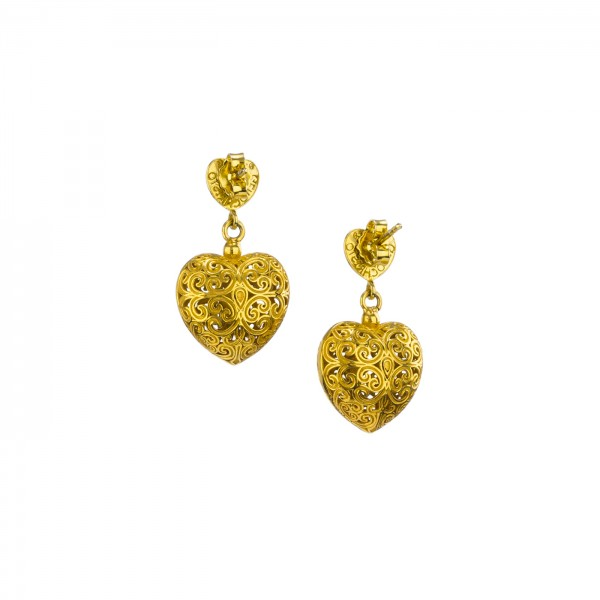 Kallisto Dangle and Drop Heart Earrings in Gold plated silver 925 GER-E1021G