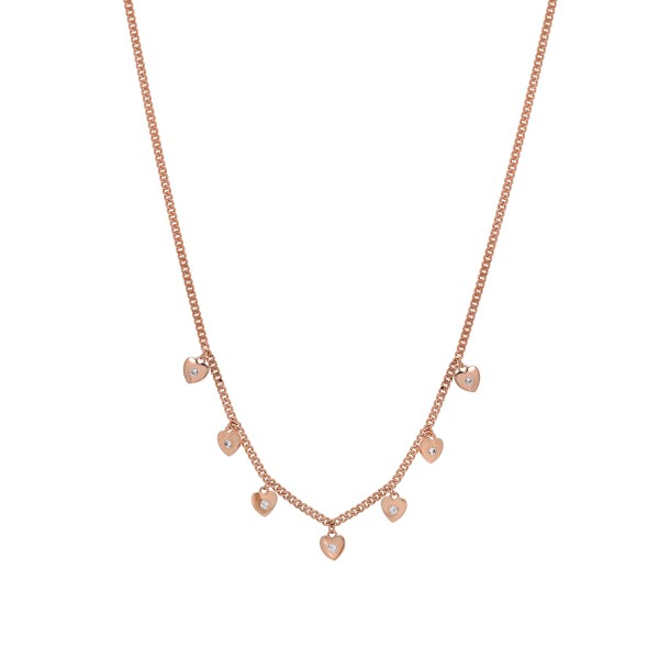 Hearts necklace in silver 925 pink gold plated with zircon PS/8B-KD186-2