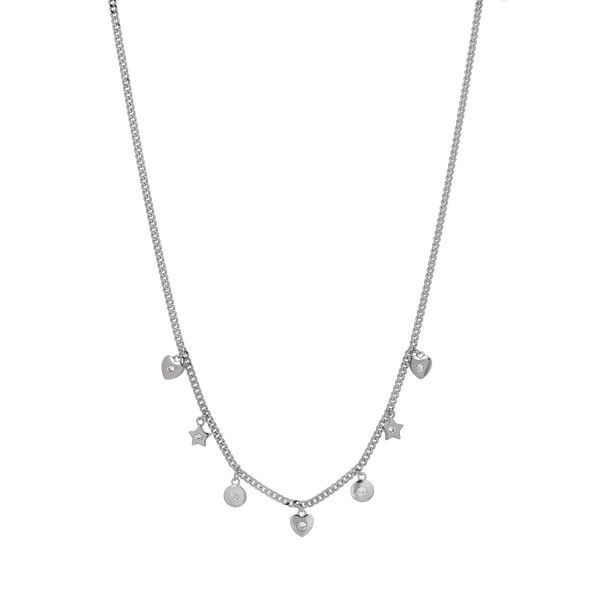 Necklace in silver 925 platinum plated with zircon PS/8B-KD187-1
