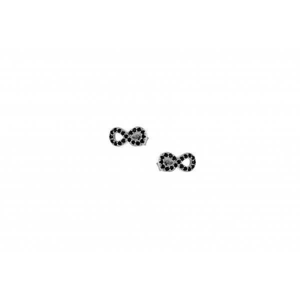 Infinity stud earrings in silver 925 platinum plated with zircon PS/9A-SC032