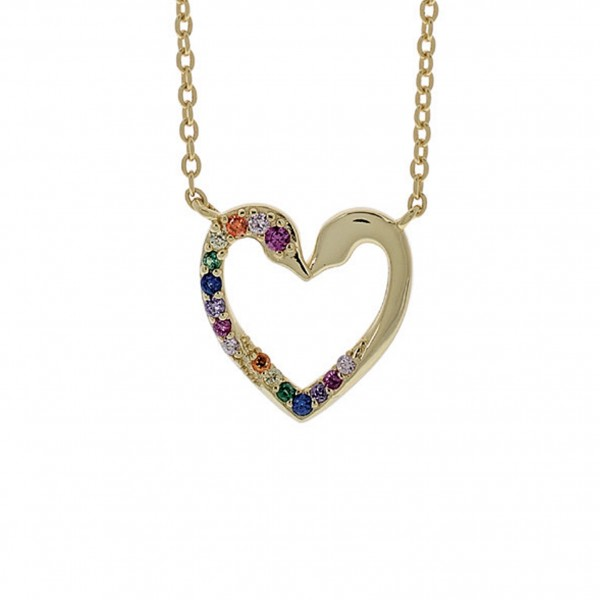 Heart necklace in silver 925 gold plated with zircon PS/8TA-KD013-3O