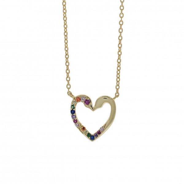 Κολιέ καρδιά ασήμι 925 επιχρυσωμένο με ζιργκόν PS/8TA-KD013-3O