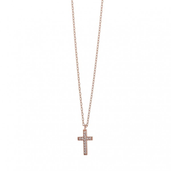 Cross necklace in silver 925 with white zircon PS/8A-KD247