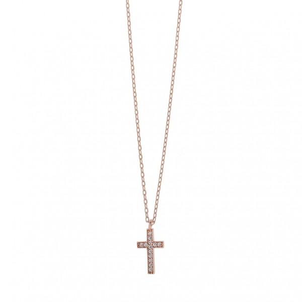 Κολιέ σταυρός ασήμι 925 με λευκά ζιργκόν PS/8A-KD247