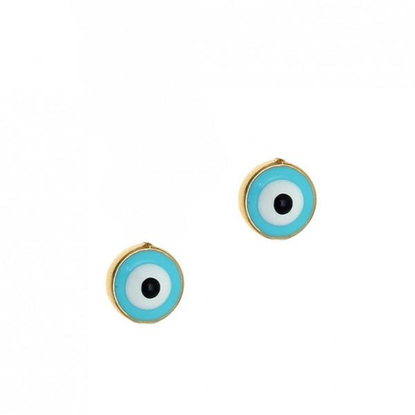 Eye Stud Earrings 14K Yellow Gold GRE-57178-C3