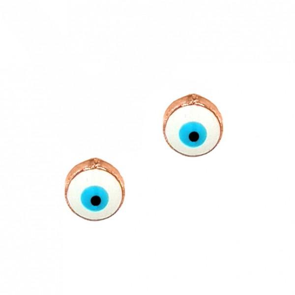 Καρφωτά Σκουλαρίκια Ματάκι Ροζ Χρυσό K14 με σμάλτο GRE-57178-C2
