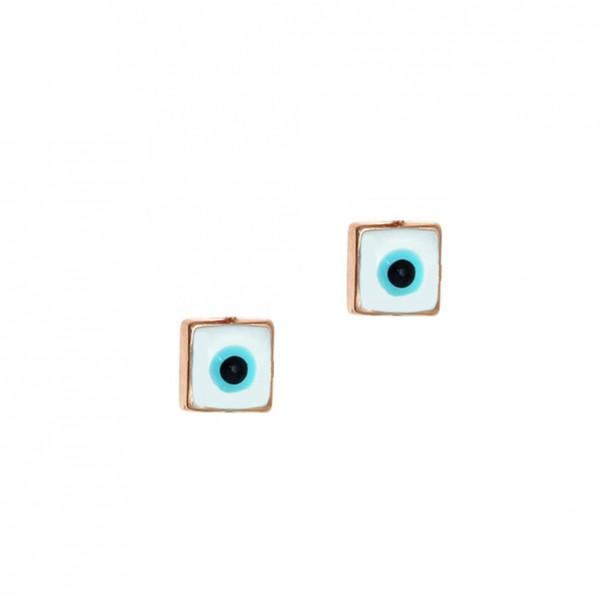 Καρφωτά Σκουλαρίκια Ματάκι Ροζ Χρυσό K14 με σμάλτο GRE-57178-S2