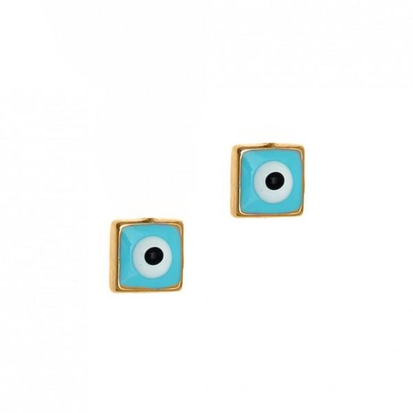 Καρφωτά Σκουλαρίκια Ματάκι Χρυσό K14 με σμάλτο GRE-57178-S3