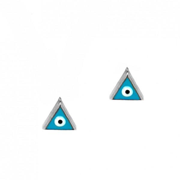 Eye Stud Earrings 14K White Gold GRE-57178-T1