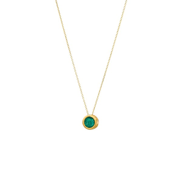 Handmade circle Pendant in silver 950 gold plated with enamel KON-Α39MX