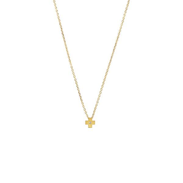 Χειροποίητος σταυρός από χρυσό K14 με λευκό ζιργκόν KRI-S61