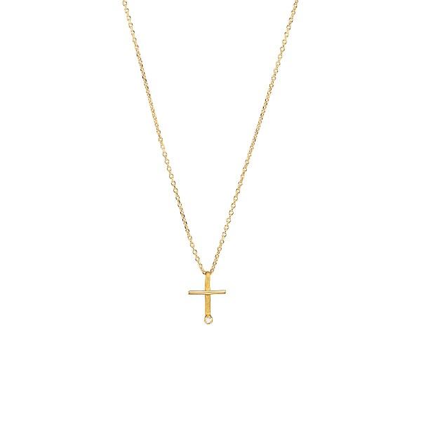 Χειροποίητος σταυρός από χρυσό K14 με λευκό ζιργκόν KRI-S53