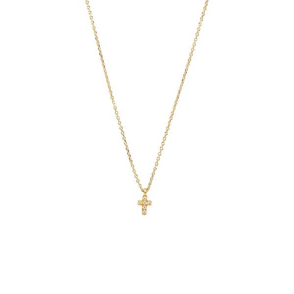 Χειροποίητος σταυρός από χρυσό K14 με λευκά ζιργκόν KRI-S52