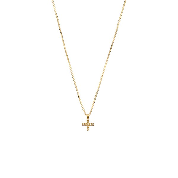 Χειροποίητος σταυρός από χρυσό K14 με λευκά ζιργκόν KRI-S19