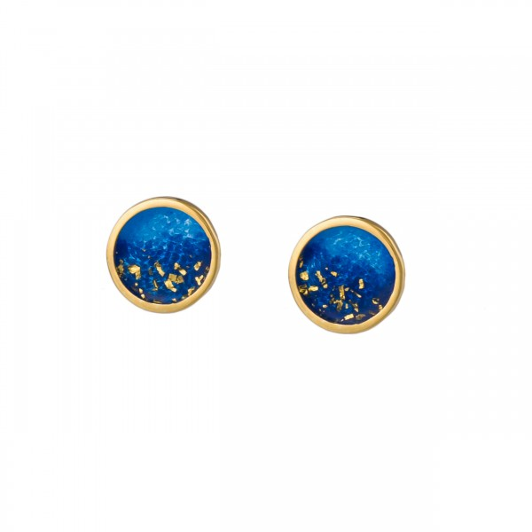 Χειροποίητα καρφωτά σκουλαρίκια κύκλοι ασήμι 950 με σκούρο μπλε σμάλτο KON-S4S8X