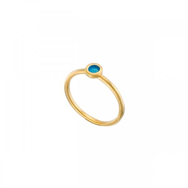 Χειροποίητο στρογγυλό μονόπετρο δαχτυλίδι ασήμι 950 με σμάλτο KON-122E