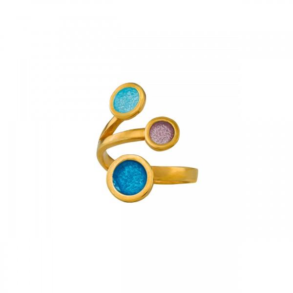 Χειροποίητο δαχτυλίδι ασήμι 950 επιχρυσωμένο με σμάλτο KON-9E2X