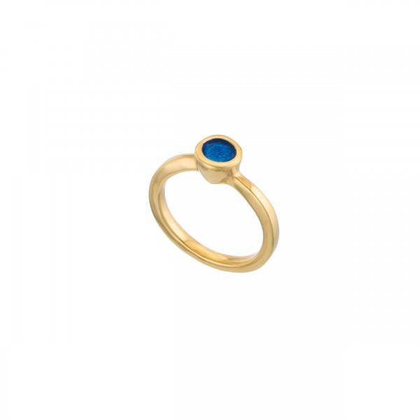 Χειροποίητο στρογγυλό μονόπετρο δαχτυλίδι ασήμι 950 με σμάλτο KON-42E