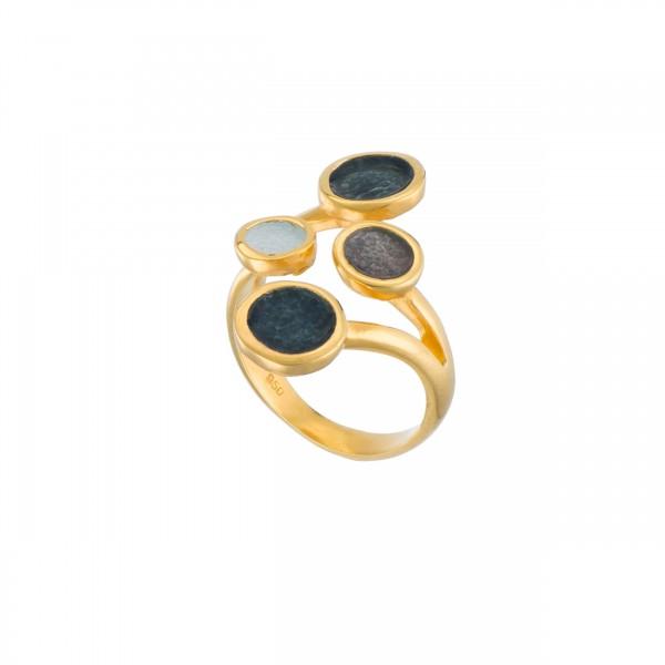 Χειροποίητο δαχτυλίδι ασήμι 950 επιχρυσωμένο με σμάλτο KON-10E14X